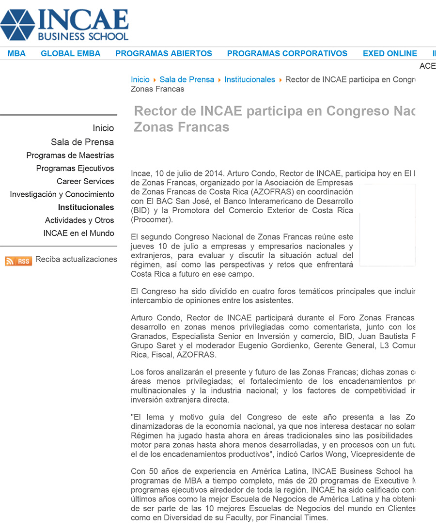 Rector de INCAE participa en Congreso Nacional de Zonas Francas